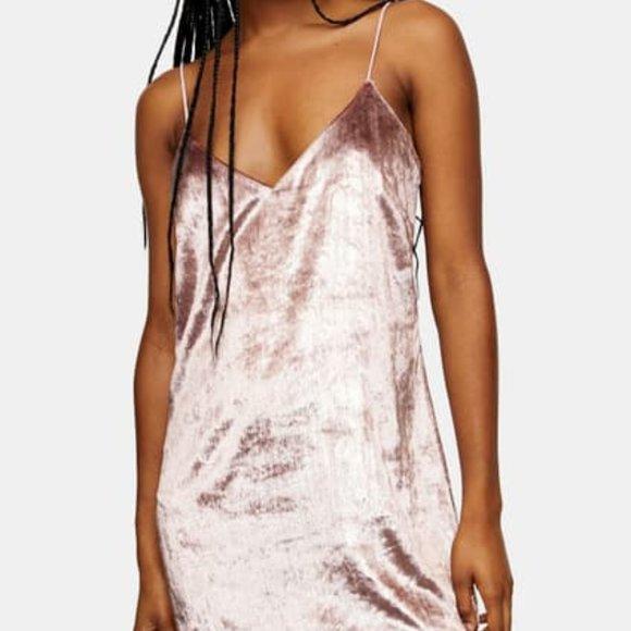TOPSHOP Glitter Velvet Mini Slipdress Size 8